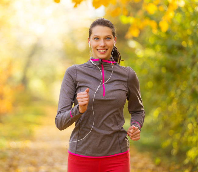 Woman jogging on a cold day